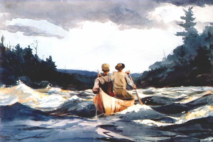 Canoe in the Rapids - by Winslow Homer