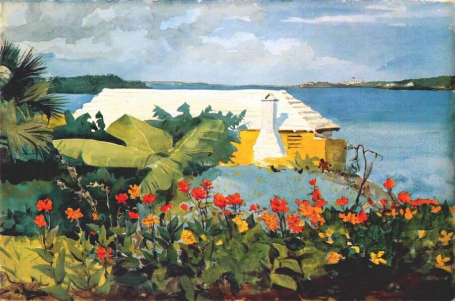 Flower Garden and Bungalow Bermuda - by Winslow Homer