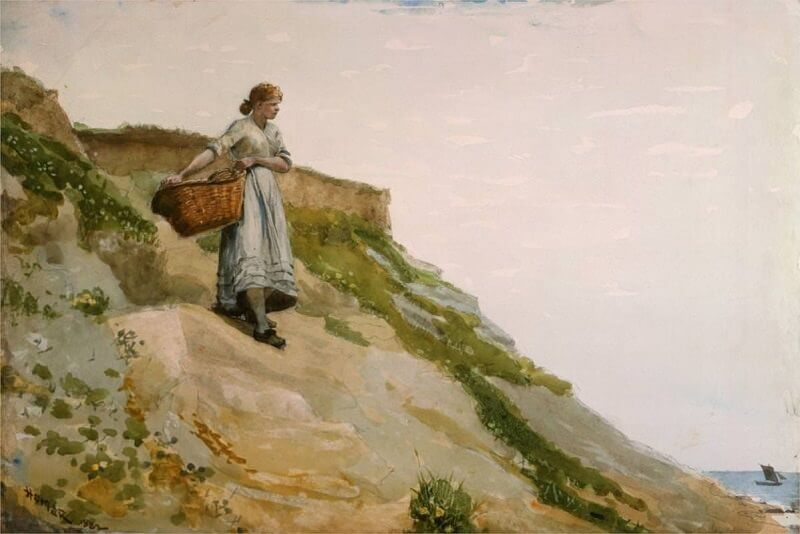 Girl Carrying a Basket - by Winslow Homer