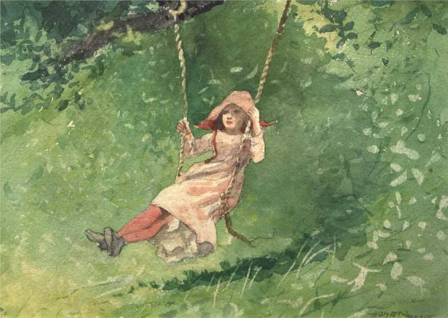 Girl on a Swing - by Winslow Homer