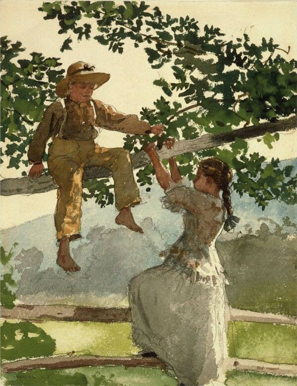 On the Fence - by Winslow Homer